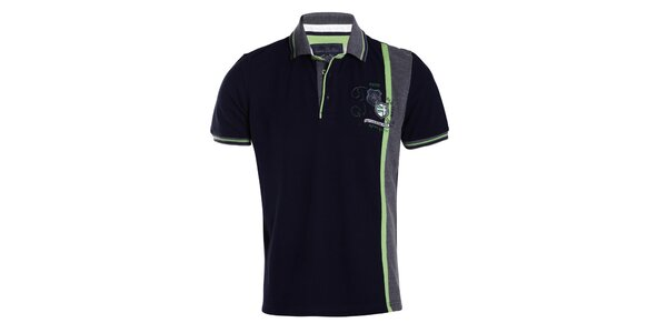 Pánske tmavomodré tričko so zeleným pruhom Signore dei Mari
