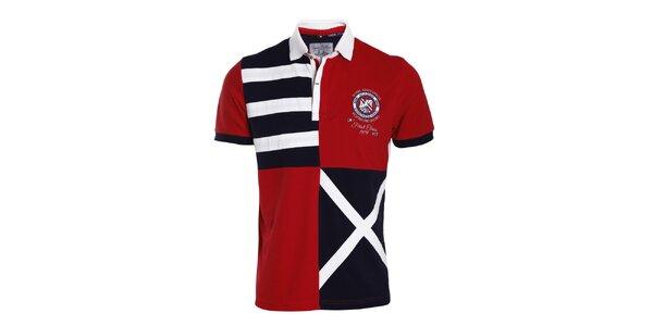 Pánske červeno-modro-biele polo tričko so vzormi Signore dei Mari