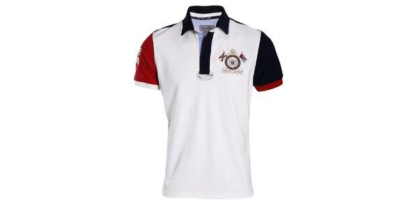Pánske bielo-červeno-modré polo tričko s výšivkou Signore dei Mari