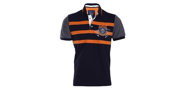 Pánske modré tričko s oranžovými pruhmi Signore dei Mari