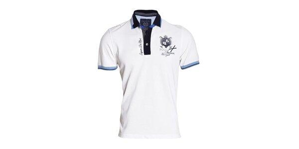 Pánske biele polo tričko s modrými lemami Signore dei Mari