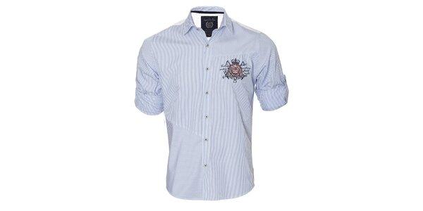 Pánska modro pruhovaná košeľa s vyhrnuteľnými rukávmi Signore dei Mari