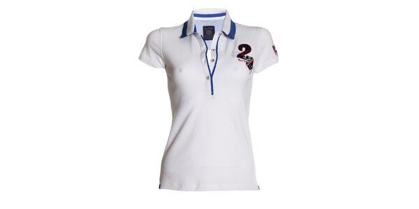 Dámske biele polo tričko s modrými detailmi Signore dei Mari