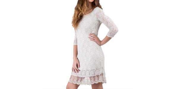 Dámske pieskovo biele šaty s čipkou Keysha