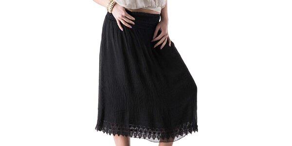 Dámska čierna sukňa s čipkou Keysha