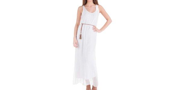 Dámske dlhé biele hodvábne šaty Keysha