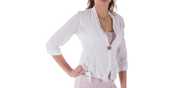 Dámske biele ľanové sako Keysha
