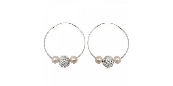 Dámske strieborné náušnice Miss Jones s kamienkami a perlami