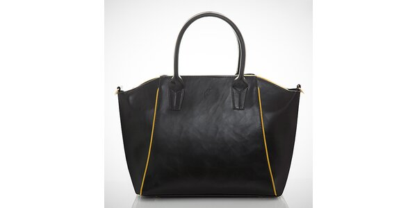 Dámska čierna kabelka s kontrastnými zipsami Felice