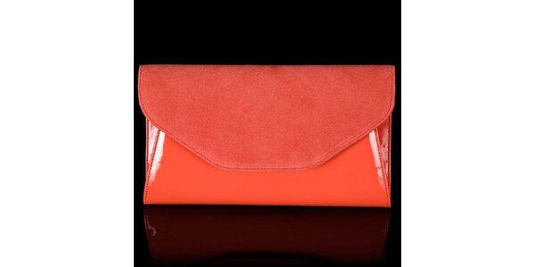 Dámska oranžová listová kabelka Felice so semišovou klopou