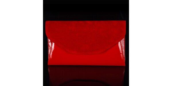 Dámska červená listová kabelka Felice so semišovou klopou