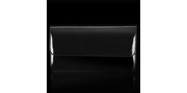 Dámska čierna lakovaná listová kabelka Felice