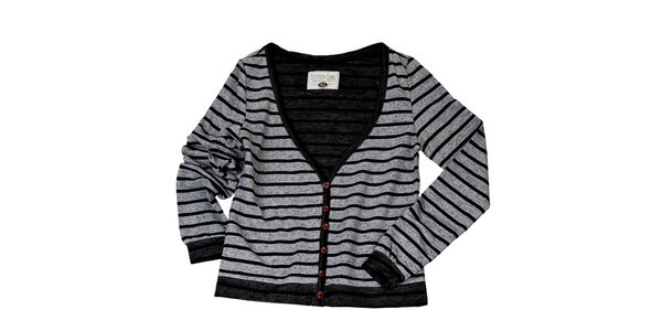 Dámsky šedý sveter s prúžkami Stitch&Soul