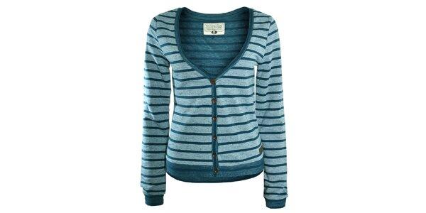 Dámsky sveter v petrolejovej farbe s prúžkami Stitch&Soul