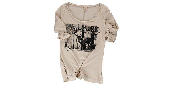 Dámske béžové tričko s jeleňom Urban Surface