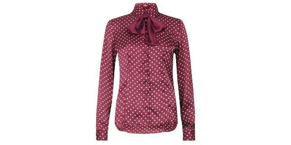 Dámska lesklá bodkovaná košeľa s mašľou Merc