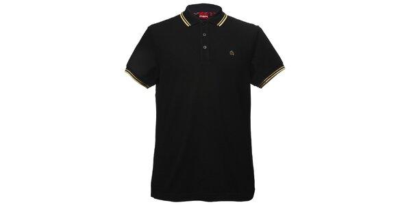 Pánske čierne polo tričko so žltými pruhmi Merc