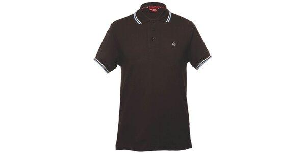 Pánske hnedé polo tričko s ozdobnými pruhmi Merc