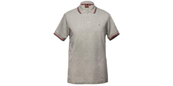 Pánske šedé polo tričko s ozdobnými pruhmi Merc
