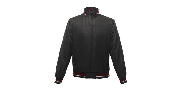 Pánska čierna bunda s červenými pruhmi Merc