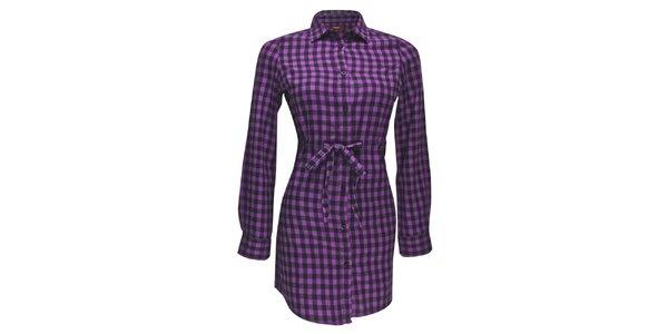 Dámske fialové kockované košeľo-šaty Merc