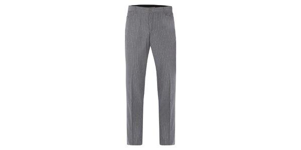 Pánske šedé nohavice s pukmi a bielymi prúžkami Merc