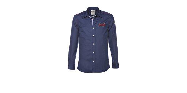 Pánska tmavo modrá košeľa s výšivkou M. Conte