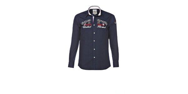 Pánska tmavo modrá košeľa s výšivkami M. Conte
