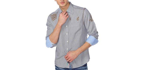 Pánska šedá košeľa s pruhmi a zlatými nápismi M. Conte