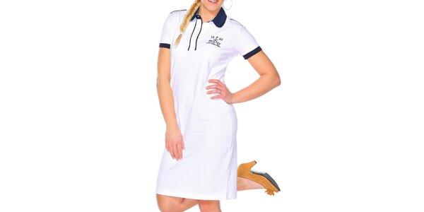 Dámske biele šaty s guľatým golierikom M. Conte
