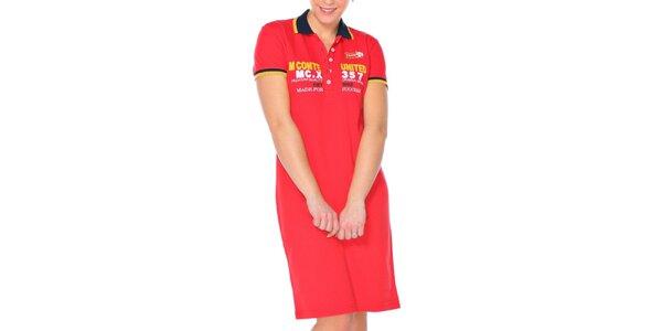 Dámske červené šaty s golierikom M. Conte