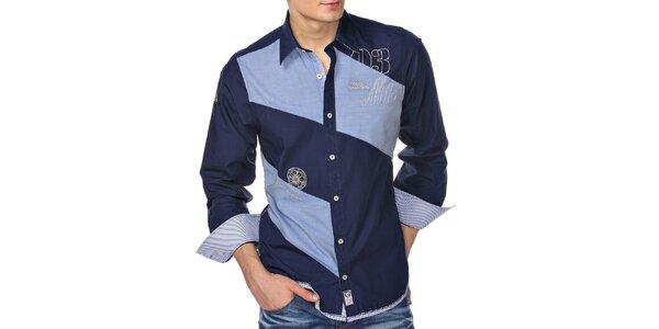 Pánska modrá košeľa dvoch farieb M. Conte