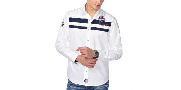 Pánska biela košeľa s modrými pruhmi na hrudi M. Conte