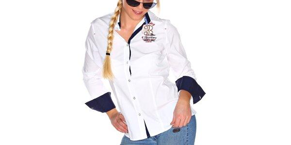 Dámska biela košeľa s kontrastnými prvkami M. Conte