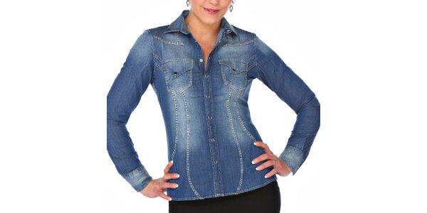 Dámska modrá džínsová košeľa so šisovaním M. Conte