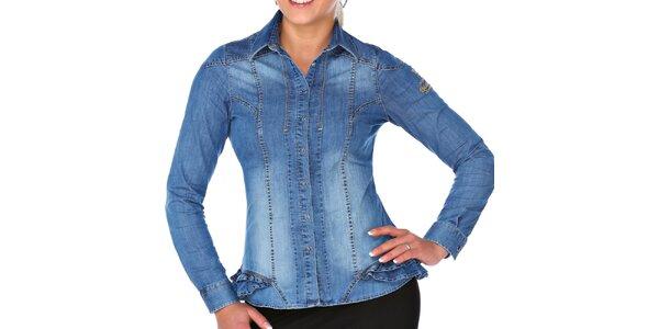 Dámska džínsová košeľa s volánmi M. Conte