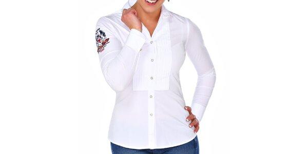 Dámska biela košeľa s výšivkou M. Conte