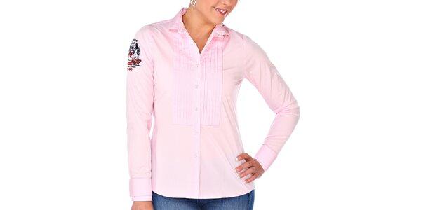 Dámska ružová košeľa s výšivkou M. Conte