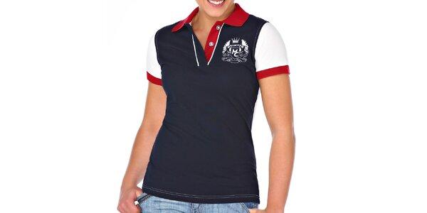 Dámske tmavo modré polo tričko s bielym chrbtom M. Conte