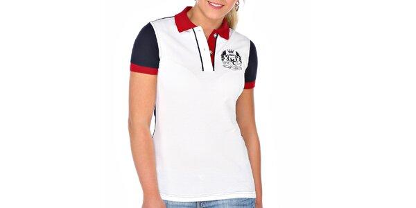 Dámske biele polo tričko s modrým chrbtom M. Conte