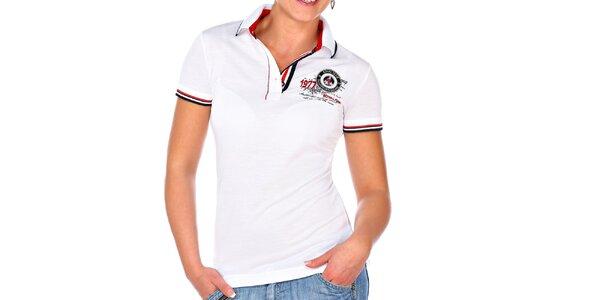 Dámske biele polo tričko s krátkym rukávom M. Conte