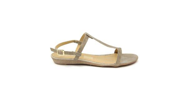 Dámske šedobéžové kožené sandále Giorgio Picino