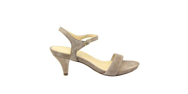 Dámske šedohnedé semišové sandále na nízkom opätku Giorgio Picino