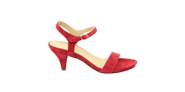 Dámske červené semišové sandále na nízkom opätku Giorgio Picino