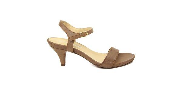 Dámske hnedé kožené sandále na nízkom opätku Giorgio Picino