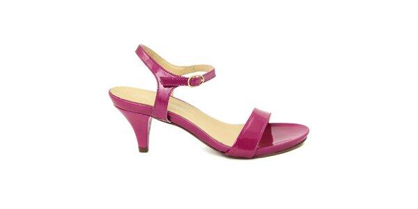 Dámske fuchsiové kožené sandále na nízkom opätku Giorgio Picino
