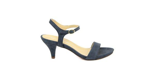 Dámske tmavo modré kožené sandále na nízkom opätku Giorgio Picino