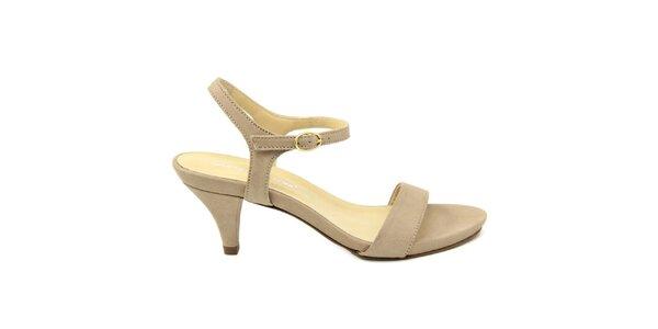 Dámske béžové kožené sandále na nízkom opätku Giorgio Picino