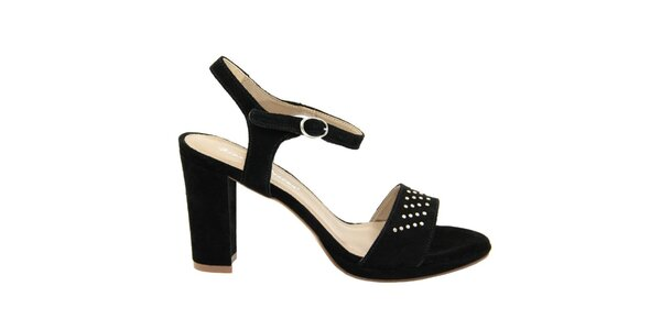 Dámske čierne semišové sandále s ozdobnými cvokmi Giorgio Picino