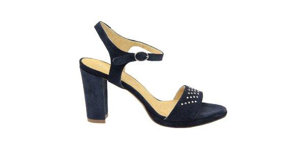 a7e40a07f348 Dámske tmavo modré semišové sandále s ozdobnými cvokmi Giorgio Picino